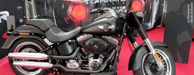 Auch zur Premiere in Berlin: das original Motorrad aus Terminator: Genysis.