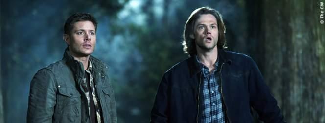 Das Dreamteam auch in Staffel 11 von Supernatural: Crowley, Sam und Dean sowie Cass.